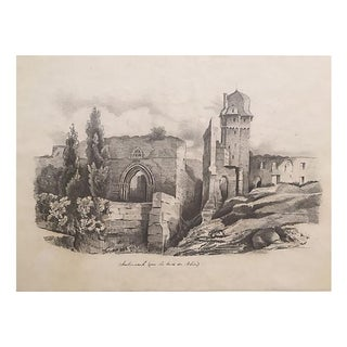 Andernach Castle Ruins Antique Drawing C.1847