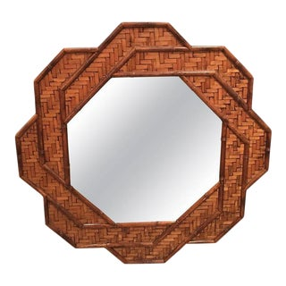 Octogonal Rattan Woven Reed Bamboo Wall Mirror