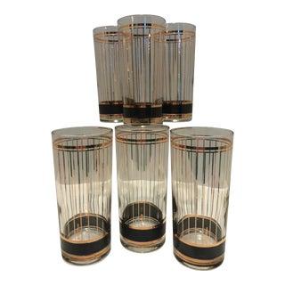 1970s Vintage Culver Black & 22k Gold Tall Highball Tumbler Glasses - Set of 6
