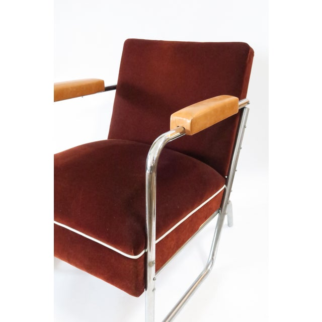 Vintage German Mohair Upholstered Chrome Chair - Image 3 of 6