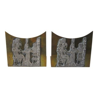 Egyptian Brass Bookends - A Pair