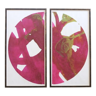 Over-sized Large Abstract Framed Art - A Pair