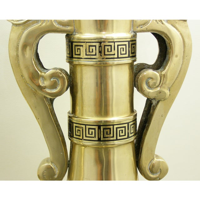 Monumental Large Asian Brass Table Lamps Mid-Century Modern McM- a Pair - Image 10 of 11