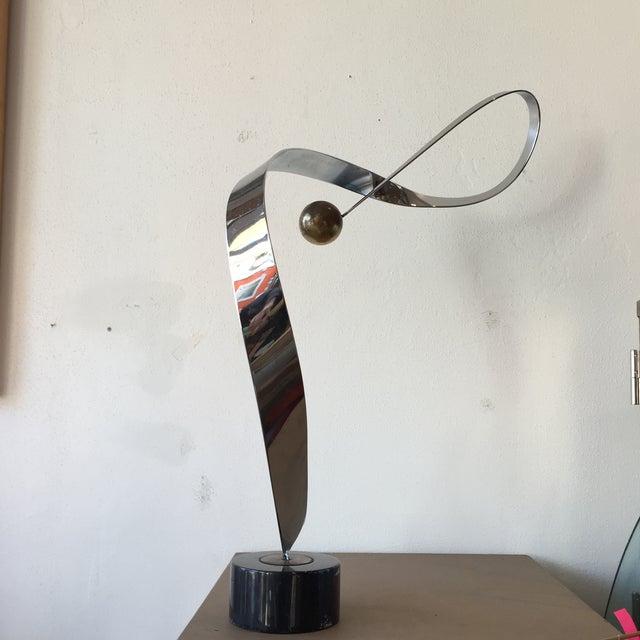 Minimalist Modern Metal Sculpture on Marble Base - Image 5 of 10