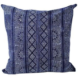 Sunray Hmong Indigo Batik Handmade Pillow Cover