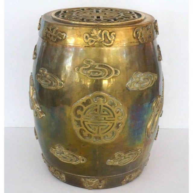 Hollywood-Regency, Brass Garden Stool / Side Table, Asian Motif with a Removable Lid - Image 6 of 10