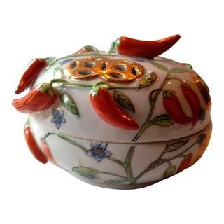 Asian Pepper Ceramic Lidded Box
