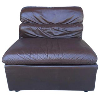 Italian Leather Slipper Chair in Chocolate