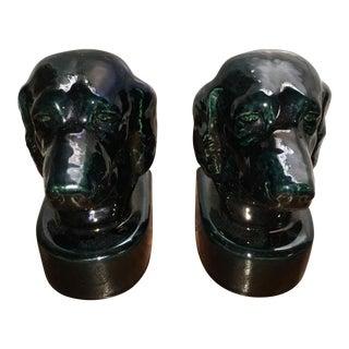 Ceramic Black Labrador Bookends - A Pair