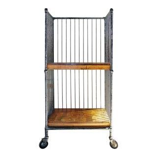 Vintage Industrial Wood and Metal, Steel Bindery, Printer's Shelf Rolling Cart