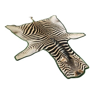 Forsyth Zebra Hide Green Velvet Trim Rug - 6′10″ × 8′1″