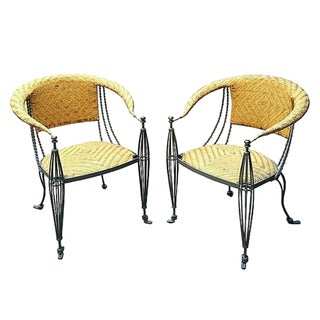 Outdoor Leather & Iron Chairs - A Pair