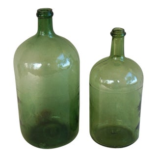 Vintage French Demijohn Wine Bottles - A Pair