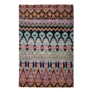 "Ikat Hand-Knotted Rug - 4'1"" x 6'2"""
