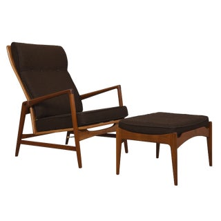 Kofod Larsen Danish Modern Teak Adjustable Lounge Chair with Ottoman
