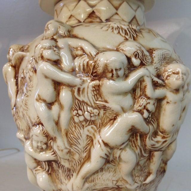 Majolica Porcelain Cherub Relief Lamps - Pair - Image 4 of 9