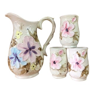 Vintage Floral Pitcher & Cups - Set of 4