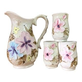 Vintage Floral Pitcher & Cups - Set of 4