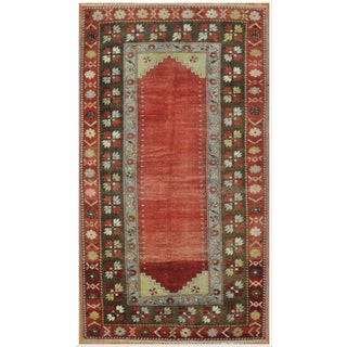 Vintage Tribal Design Hand Knotted Rug - 4′3″ × 7′8″