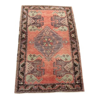 "Vintage Turkish Oushak Tribal Rug- 1'9"" x 2'11"""