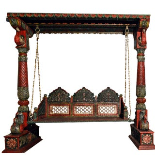 Carved Elephant & Peacock Wooden Carved Royal Swing Set / Indoor Jhula