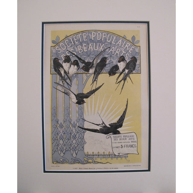 Antique Black Birds Matted Art Deco Poster - Image 3 of 3