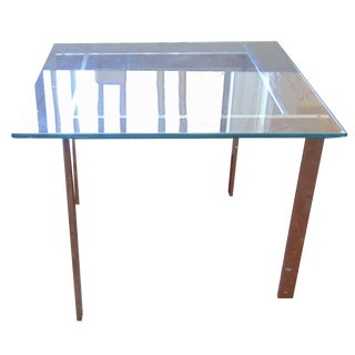 Milo Baughman Glass & Chrome Side Tables - a Pair