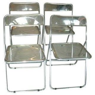 Lucite & Chrome Folding Chairs - Set of 4
