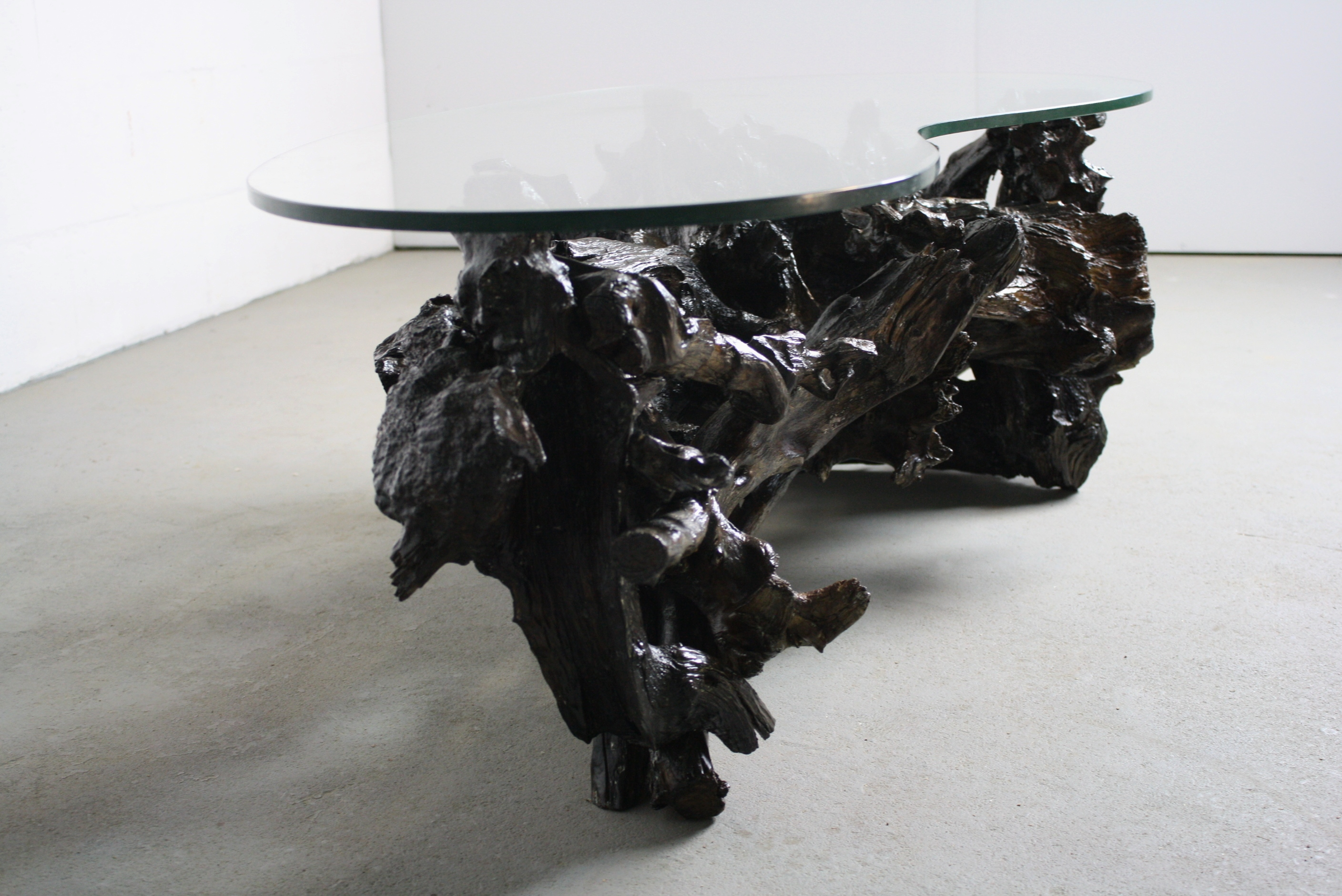 70s driftwood coffee table kidney shaped glass top | chairish