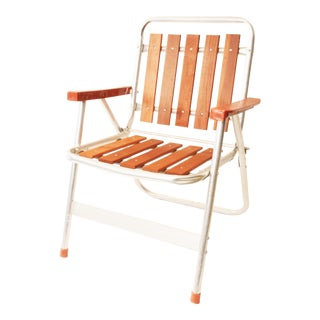 Vintage Redwood & Aluminum Folding Patio Chair