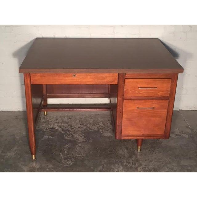 Hoosier Mid-Century Modern Walnut Desk - Image 9 of 10