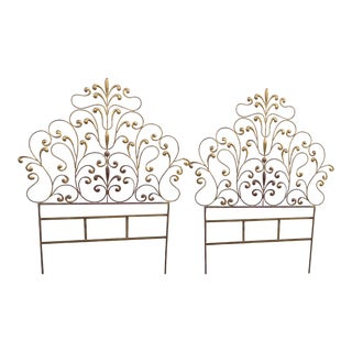 Antique Wrought Iron Gold Twin Headboards - A Pair