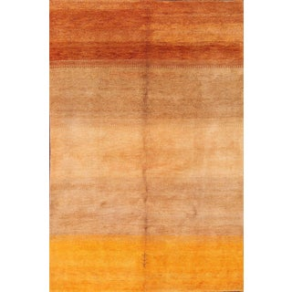 "Vintage Gabbeh Orange Hand Knotted Wool Rug - 6'8"" x 9'9"""