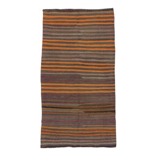 Orange Striped Turkish Kilim Rug - 4′2″ × 7′10″