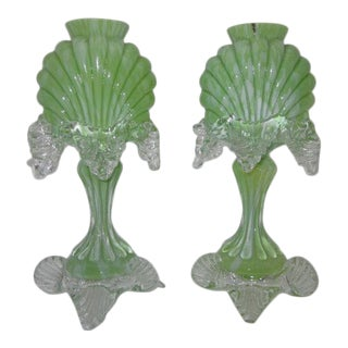 1800s Antonin Rückl & Sons Vcelnicka Czech Green Shell Vases - A Pair