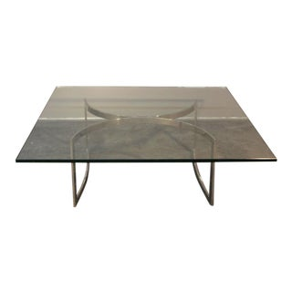 Mid-Century Chrome Base & Glass Top Coffee Table