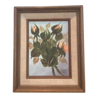 Vintage Rose Bud Painting