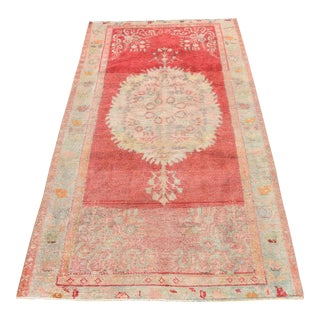 Antique Nomadic Handwoven Pastel Red Pile Rug - 3′3″ × 6′