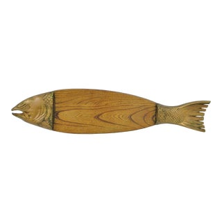 Mid-Century Oak & Metal Fish Platter