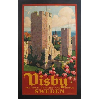 1925 Swedish Art Deco Travel Poster, Visby Town of Ruins and Roses