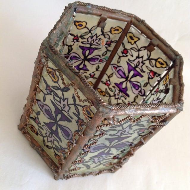 Bohemian Moroccan Brass & Glass Candle Lantern - Image 5 of 10