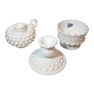 Fenton Hobnail Milk Glass Candle Holders - Set of 3