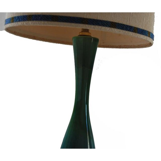Mid Century Italian Blue Green Ceramic Lamp