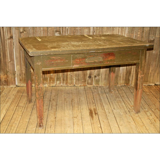 Image of Vintage Industrial Wood Library Table. Vintage Industrial Wood Library Table   Chairish