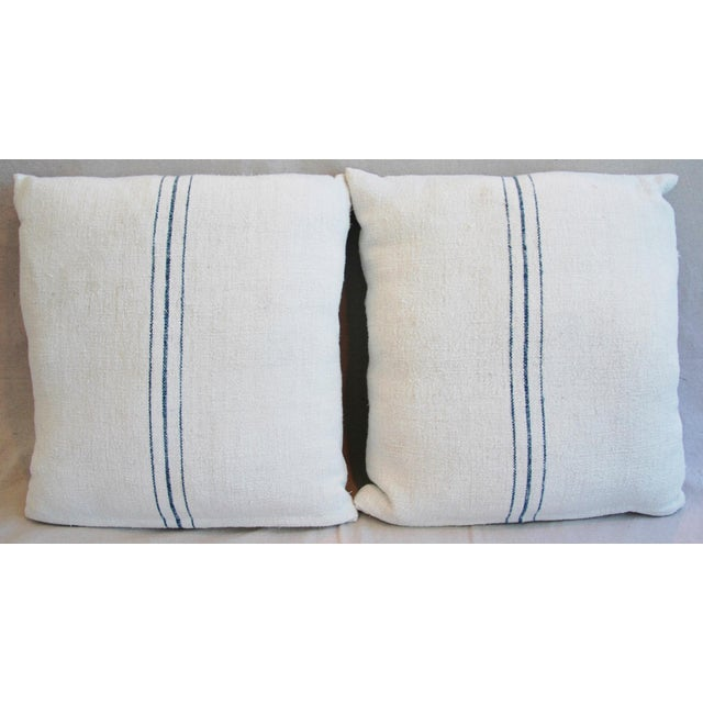 Vintage French Grain Sack Textile Pillows - a Pair - Image 3 of 10