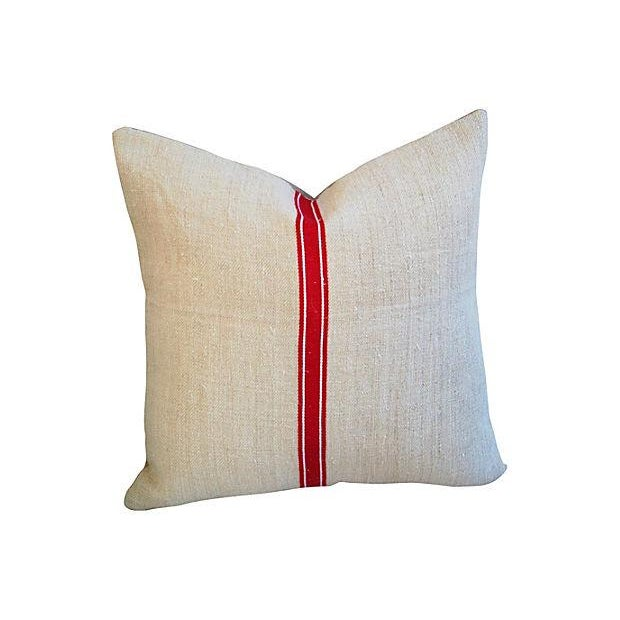 Red Stripe Textile & Linen Pillows - Set of 3 - Image 4 of 7