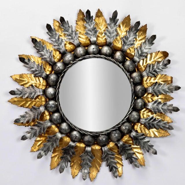 Pair Mid Century Spanish Gilt and Silver Metal Sunburst Mirrors - Image 3 of 9