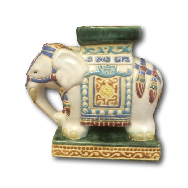 Vintage Chinoiserie Mini Elephant Pottery Stool - Image 2 of 5