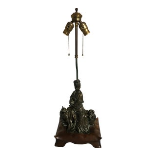 Chinoiserie Table Lamp with Chinese Bronze Figure of Guanyin on a Beast, 1940's