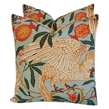 Tropical Parrot & Pomegranate Feather/Down Pillows - a Pair - Image 1 of 7